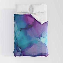 Alcohol Ink - Wild Plum & Teal Comforters