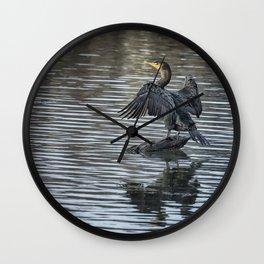 Double-Crested Cormorant Landscape Wall Clock