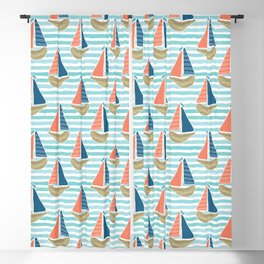 Cute driftwood sailboat on the blue ocean sea pattern. Blackout Curtain