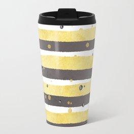 Modern yellow white gray watercolor splatters stripes Travel Mug