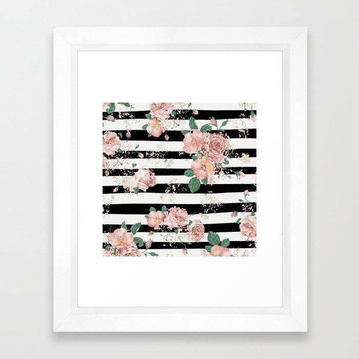 VINTAGE FLORAL ROSES BLACK AND WHITE STRIPES Framed Art Print