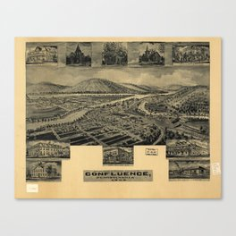 Aerial View of Confluence, Pennsylvania (1905) Canvas Print