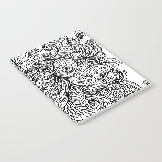 B&W Floral Indian Pattern Notebook