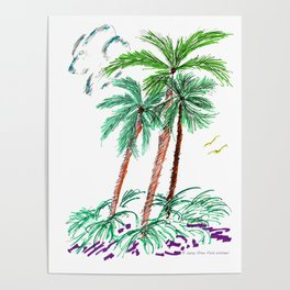 """Triplet Palms"" Poster"