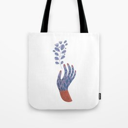 Hand painted Purple Flower Hand holding a fantasy flower Tote Bag