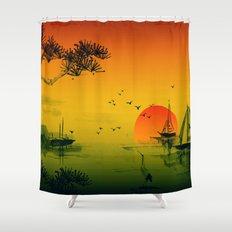 Japanese Sunset Shower Curtain