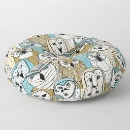 owls gold blue Floor Pillow