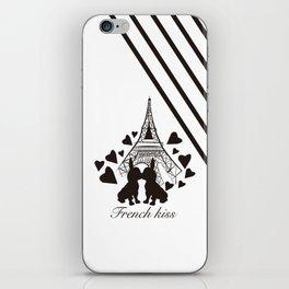 French (bulldogs) kiss in Paris iPhone Skin