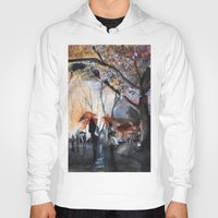 autumn Hoodies featuring Autumn rain - watercolor by Nicolas Jolly