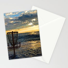 Disc Golf Basket Chesapeake Bay Virginia Beach Ocean Sunset Stationery Cards