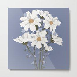 Forget Me Nots & Cosmos Bouquet -- Blue Metal Print