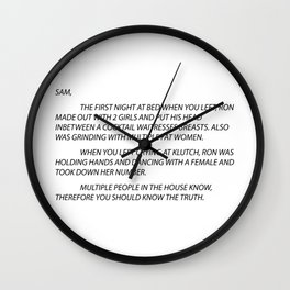 Letter to Sammi Sweetheart Wall Clock
