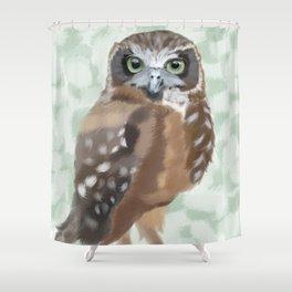 Green Eyed Owl Shower Curtain
