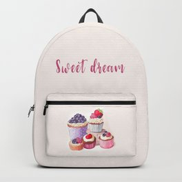 Sweet dream Cute cupcakes with berries Hand-drawn illustration Backpack