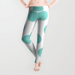 Tiffany Blue Polka Dots Leggings