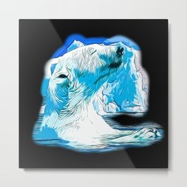 icebear polarbear enjoying vector art Metal Print