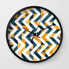 Chevron Oranges and Ink - Geometric Pattern Wall Clock