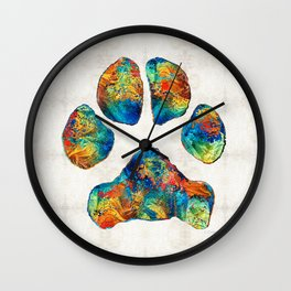 Colorful Dog Paw Print by Sharon Cummings Wall Clock