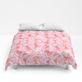 FLESHED OUT Tropical Pink Pineapples Comforters