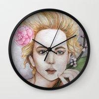 jennifer lawrence Wall Clocks featuring Jennifer Lawrence  by Giulia Colombo
