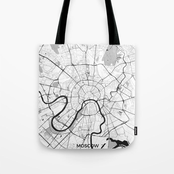 Moscow Map Gray Tote Bag
