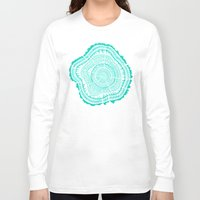 tree rings Long Sleeve T-shirts featuring Turquoise Tree Rings by Cat Coquillette