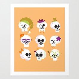 Silly Skulls Art Print