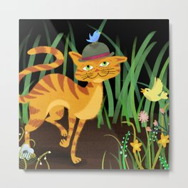 Mister Kitty And His Bird Friends Metal Print