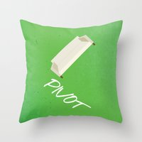 pivot Throw Pillows featuring Friends 20th - Pivot by Allison Hoover