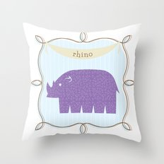 Fun at the Zoo: Rhino Throw Pillow