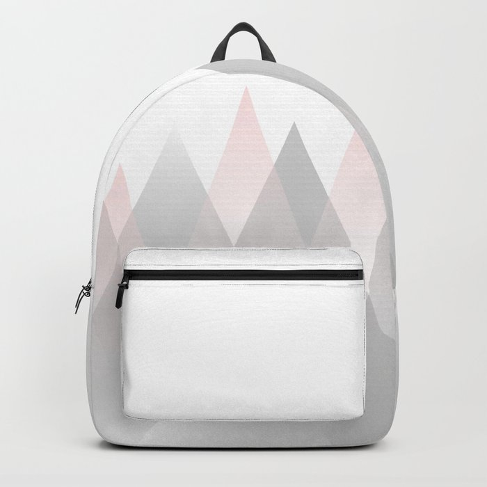 Minimal Abstract Graphic Mountains Circle Blue Pink Gray Backpack