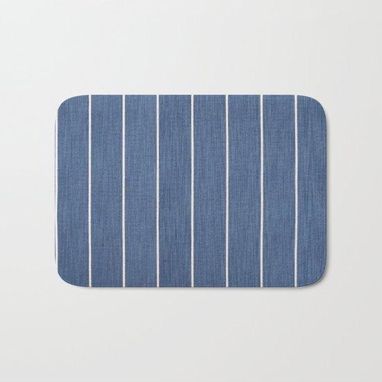 Denim Blue with White Pinstripes Bath Mat