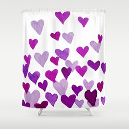 Valentine's Day Watercolor Hearts - purple Shower Curtain