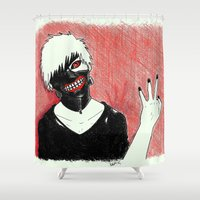 tokyo ghoul Shower Curtains featuring Kaneki - Tokyo Ghoul by Kelly Katastrophe