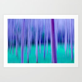 Abstract Trees in Blue Art Print