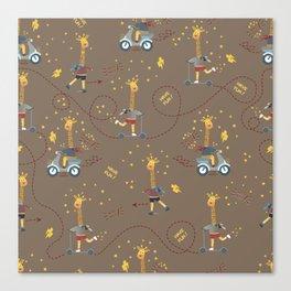 cool giraffe brown background Canvas Print