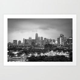 Ominous Skies over Chicago City Skyline - BW Art Print