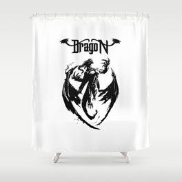 Black Dragon Rising Shower Curtain