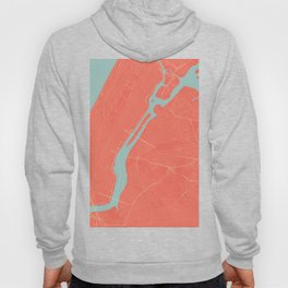 New York City Map in Coral Pink (Manhattan) Hoody