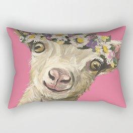 Flower Crown Animal, Goat Art, Farm Animal Rectangular Pillow