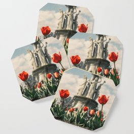 Tulips in front of a fountain. Coaster