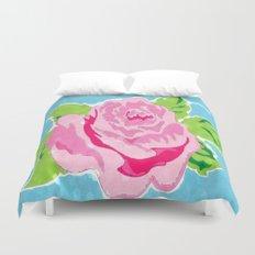 Watercolor Rose - Ocean Duvet Cover