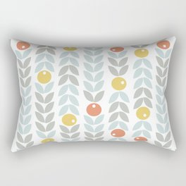 Mid Century Modern Retro Leaf and Circle Pattern Rectangular Pillow