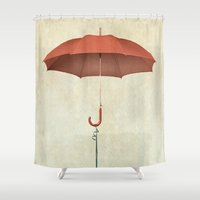 vw Shower Curtains featuring Water Landing VW beetle by Vin Zzep