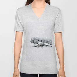 Plane Wreck in Iceland in Winter - Landscape Photography Minimalism Unisex V-Neck