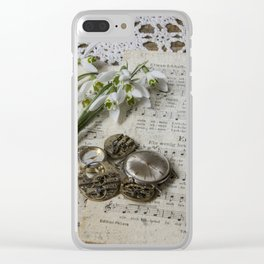 Snowdrops and Vintage Watches Clear iPhone Case