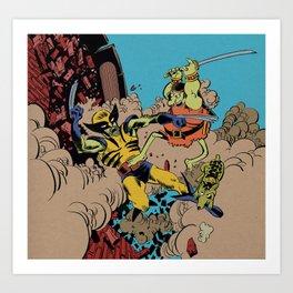 Groo The Wanderer and Rufferto Vs. Wolverine  Art Print