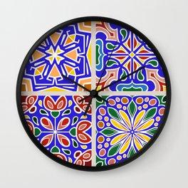 Terra Cotta and Cobalt Blue Mediterranean Tile Spanish Tile Collection Wall Clock