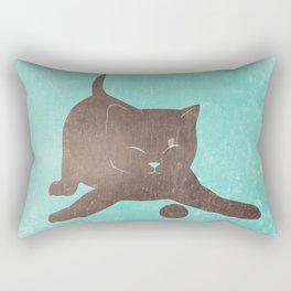 Happy kitten plays with a ball - minimalist illustration Rectangular Pillow