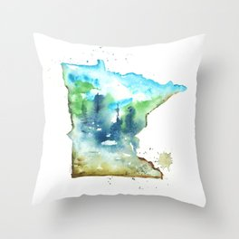Minnesota Watercolor Map - State Map Art - Watercolor Maps Throw Pillow